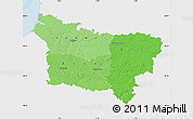 Political Shades Map of Picardie, single color outside