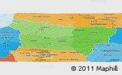 Political Shades Panoramic Map of Picardie