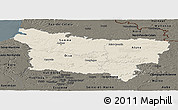 Shaded Relief Panoramic Map of Picardie, darken