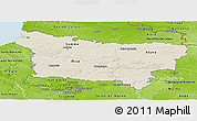 Shaded Relief Panoramic Map of Picardie, physical outside