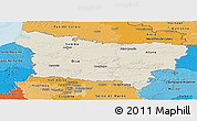 Shaded Relief Panoramic Map of Picardie, political shades outside