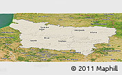 Shaded Relief Panoramic Map of Picardie, satellite outside