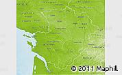 Physical 3D Map of Poitou-Charentes