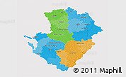 Political 3D Map of Poitou-Charentes, cropped outside
