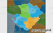 Political 3D Map of Poitou-Charentes, darken