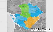 Political 3D Map of Poitou-Charentes, desaturated