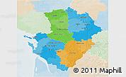 Political 3D Map of Poitou-Charentes, lighten