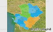 Political 3D Map of Poitou-Charentes, satellite outside
