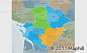 Political 3D Map of Poitou-Charentes, semi-desaturated