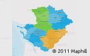 Political 3D Map of Poitou-Charentes, single color outside