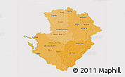 Political Shades 3D Map of Poitou-Charentes, cropped outside