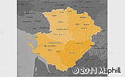 Political Shades 3D Map of Poitou-Charentes, darken, desaturated