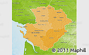 Political Shades 3D Map of Poitou-Charentes, physical outside