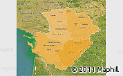 Political Shades 3D Map of Poitou-Charentes, satellite outside