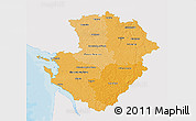 Political Shades 3D Map of Poitou-Charentes, single color outside