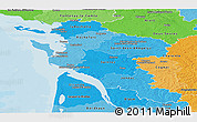 Political Shades Panoramic Map of Charente-Maritime