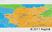 Political Shades Panoramic Map of Charente