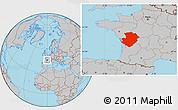 Gray Location Map of Poitou-Charentes