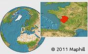 Satellite Location Map of Poitou-Charentes