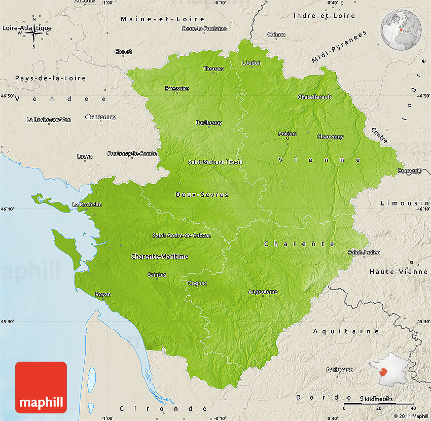 Physical Map of PoitouCharentes shaded relief outside