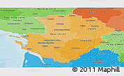 Political Shades Panoramic Map of Poitou-Charentes