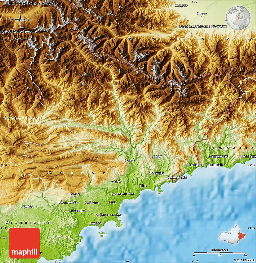 Physical Map Of Alpes Maritimes
