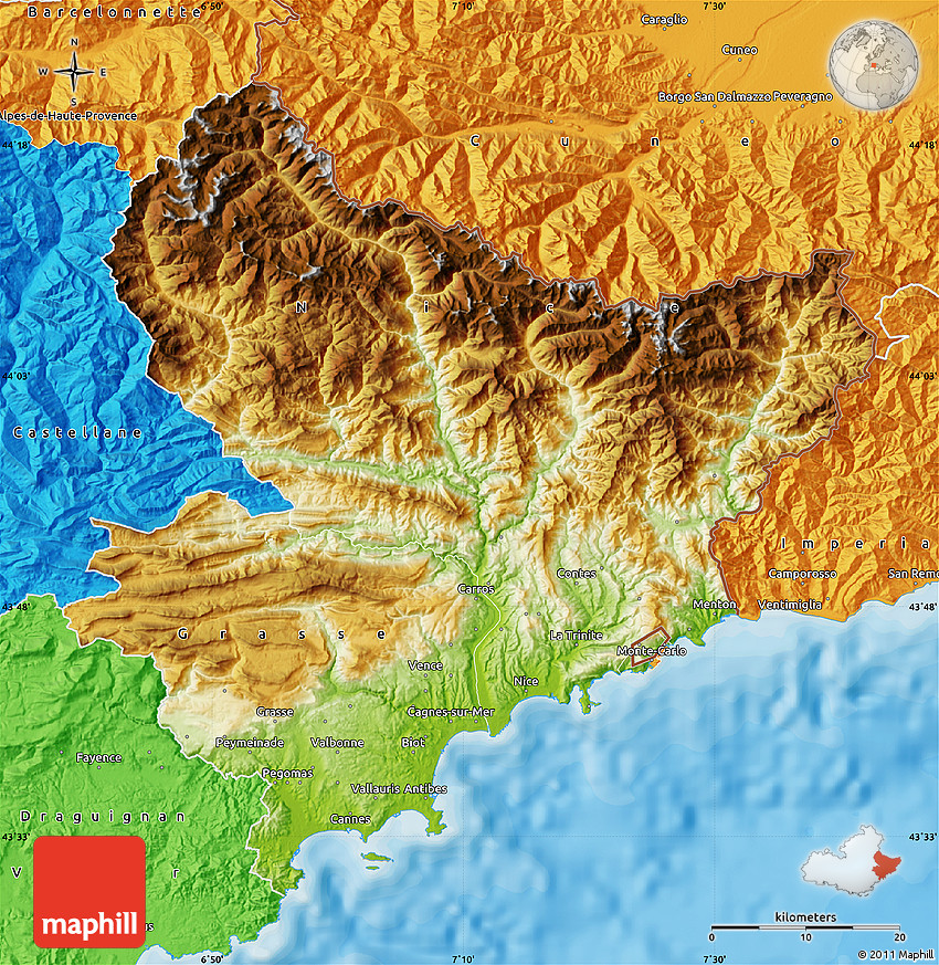 Physical Map Of Alpes Maritimes Political Outside