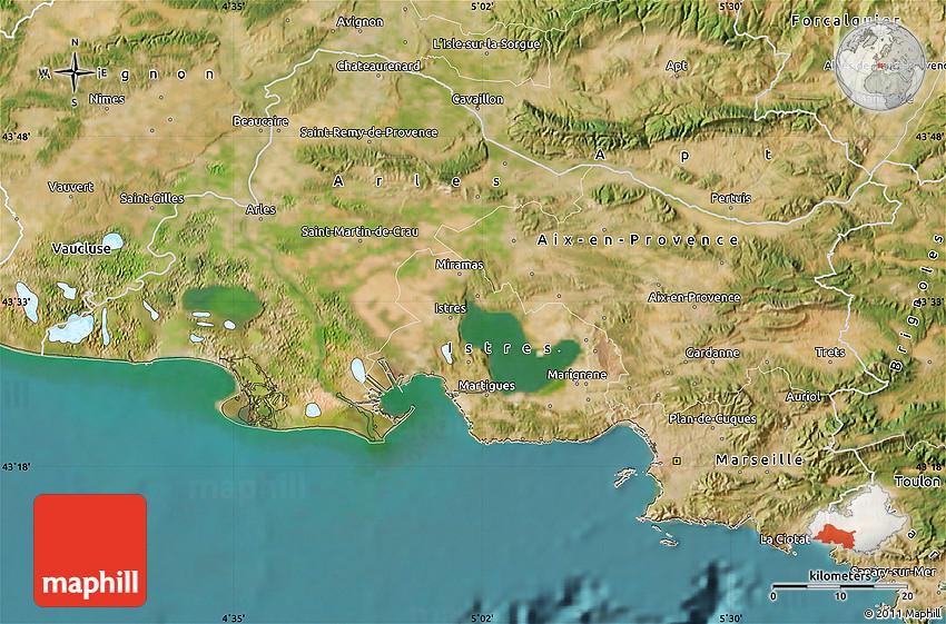 Satellite map of bouches du rh ne for Bouches du rhones