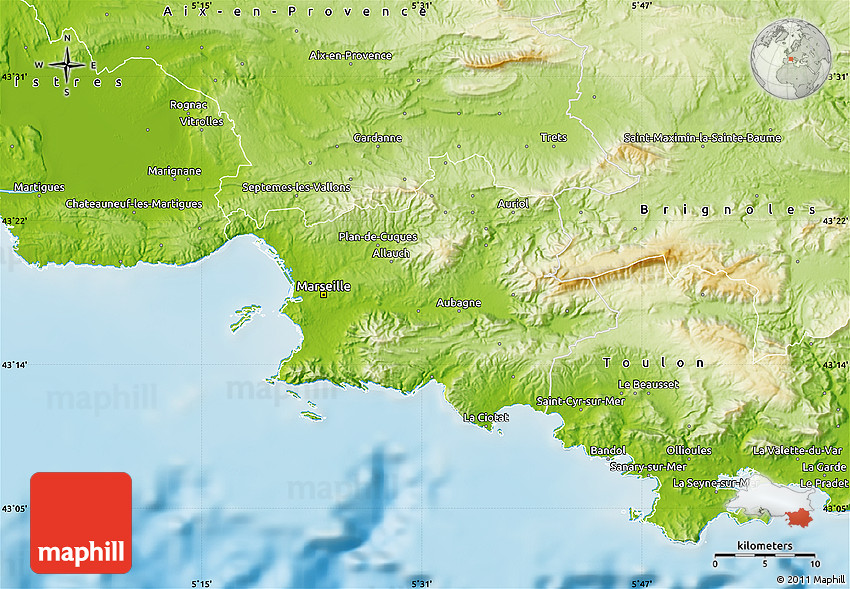 Marseille On Map Of France.Physical Map Of Marseille