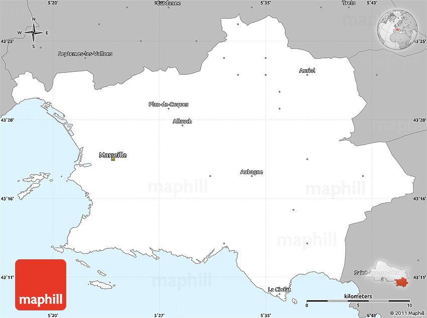 Gray Simple Map of Marseille