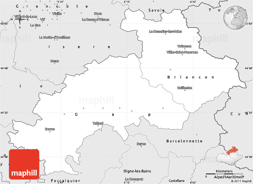 Silver Style Simple Map of HautesAlpes