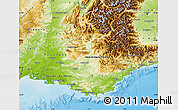 Physical Map of Provence-Alpes-Côte d'Azur