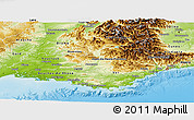 Physical Panoramic Map of Provence-Alpes-Côte d'Azur