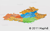 Political Panoramic Map of Provence-Alpes-Côte d'Azur, cropped outside