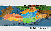 Political Panoramic Map of Provence-Alpes-Côte d'Azur, darken