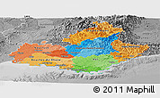 Political Panoramic Map of Provence-Alpes-Côte d'Azur, desaturated