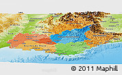 Political Panoramic Map of Provence-Alpes-Côte d'Azur, physical outside