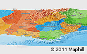 Political Panoramic Map of Provence-Alpes-Côte d'Azur, political shades outside
