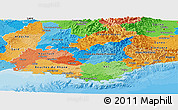 Political Panoramic Map of Provence-Alpes-Côte d'Azur