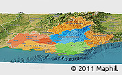 Political Panoramic Map of Provence-Alpes-Côte d'Azur, satellite outside