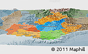 Political Panoramic Map of Provence-Alpes-Côte d'Azur, semi-desaturated