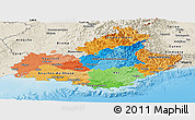Political Panoramic Map of Provence-Alpes-Côte d'Azur, shaded relief outside