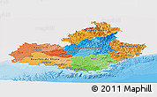 Political Panoramic Map of Provence-Alpes-Côte d'Azur, single color outside