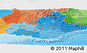 Political Shades Panoramic Map of Provence-Alpes-Côte d'Azur