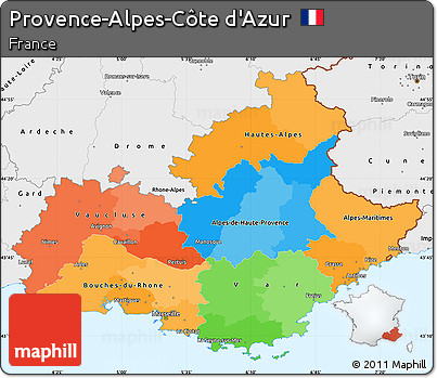 free political simple map of provence alpes c te d 39 azur. Black Bedroom Furniture Sets. Home Design Ideas