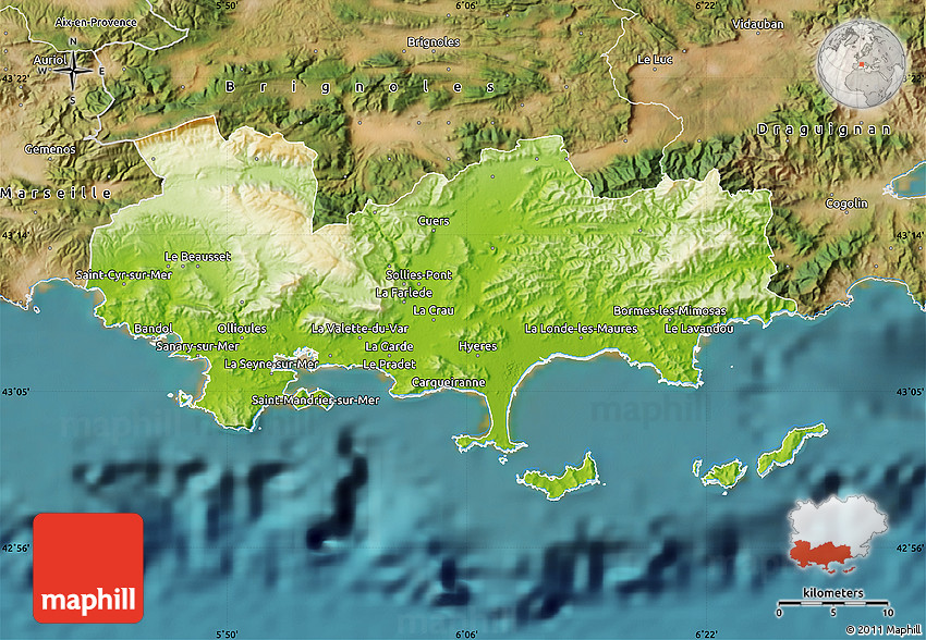Physical Map of Toulon satellite outside
