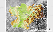 Physical 3D Map of Rhône-Alpes, desaturated