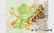 Physical 3D Map of Rhône-Alpes, lighten
