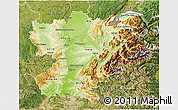 Physical 3D Map of Rhône-Alpes, satellite outside