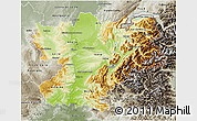 Physical 3D Map of Rhône-Alpes, semi-desaturated